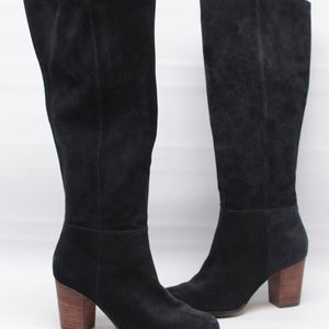 Cole Haan Nike Air Black Suede Heeled Tall Boots